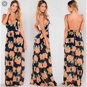 [Fashion Nova] Lady Like Navy Floral Maxi Dress